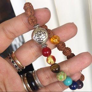 Mala 7 chakras reiki rainbow lotus flower bracelet